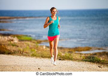 donna, lungo, litorale, sera, giovane, fare jogging, lei