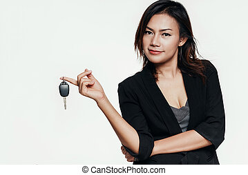 donna macchina, asiatico, presa a terra, keys.