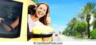 donna macchina, driver.
