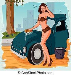 donna macchina, lavaggio, retro