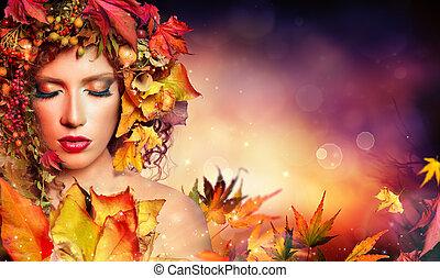 donna, magia, bellezza, -, autunno, moda