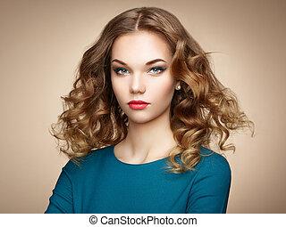 donna, magnifico, capelli, elegante, moda, ritratto