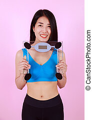 donna, magro, scala, peso, presa a terra