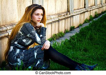 donna, malinconico, seduta, solitudine, -, triste, solo