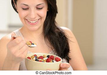donna mangia, sano, cereale, colazione, gioioso