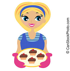 donna, mano, giovane, torta