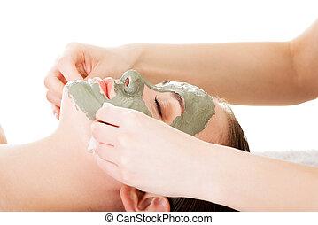 donna, mask., trattamento bellezza, argilla, facciale, terme, salon.