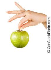donna, mela, tenendo mano