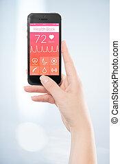 donna, mobile, app, screen., mano, libro telefono, nero, presa a terra, salute, far male