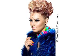donna, moda, bellezza, cappotto blu, ritratto, pelliccia