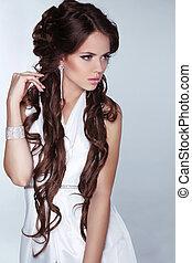 donna, moda, capelli, beauty., il portare, isolato, marrone, bianco, grigio, bello, fondo., lungo, gioielleria, vestire, foto