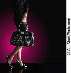 donna, moda, foto, moda, nero, borsa