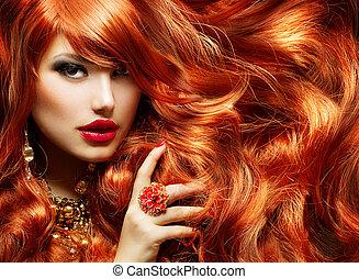 donna, moda, hair., lungo, ritratto, riccio, rosso