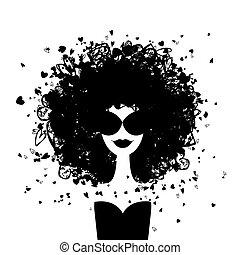donna, moda, tuo, ritratto, disegno