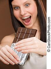 donna, morso, -, giovane, cioccolato, dolci, ritratto