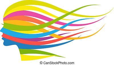 donna, multicolor, capelli, vettore