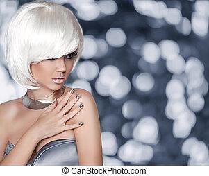 donna, muovere a scatti, moda, girl., ritratto, hairstyle., biondo, fascino, bianco
