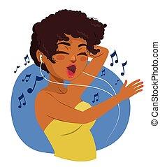 donna nera, musica, adolescente, ascolto