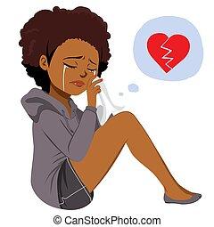 donna nera, pianto, affranto