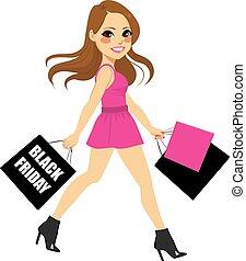donna nera, shopping, venerdì