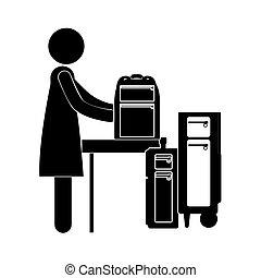 donna nera, silhouette, bagaglio