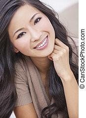 donna, orientale, sorridente, cinese, asiatico, bello