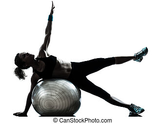 donna, palla, allenamento, idoneità, esercitarsi