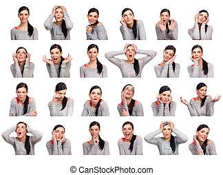donna, parecchi, giovane, isolato, esposizione, espressioni