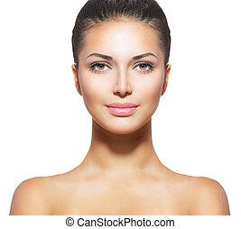 donna, pelle, fresco, giovane, faccia, pulito, bello