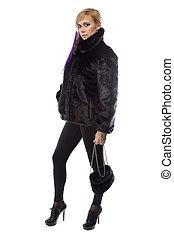donna, pelliccia, foto, corto, cappotto, borsetta