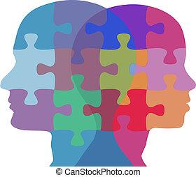 donna, persone, puzzle, faccia, problema, uomo