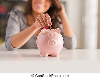 donna, piggy, moneta, mettere, banca