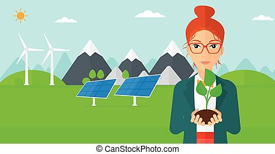 donna, plant., presa a terra