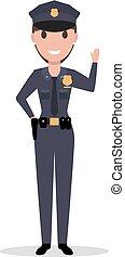donna, polizia uniforme, vettore, ufficiale, cartone animato