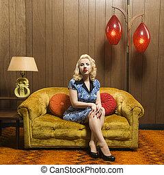 donna, portrait., retro