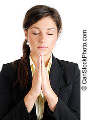 donna pregando, giovane, affari