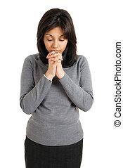 donna pregando, giovane