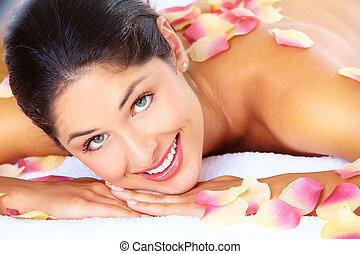 donna, prendere, giovane, terme, salon., massaggio