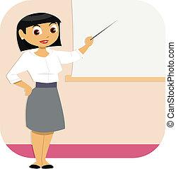 donna, presentazione, affari
