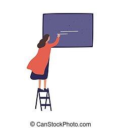 donna, presentazione, donna eretta, lavagna, scrivere, appartamento, gesso, uso, scale, creativo, vettore, asse, cartone animato, whiting, annuncio, progetto, pronto, isolato, colorito, ragazza, white., illustration.