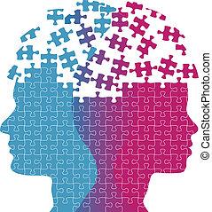 donna, puzzle, mente, pensiero, facce, problema, uomo