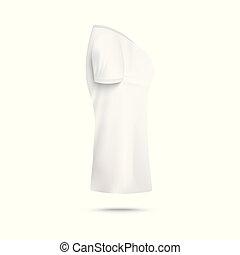 donna, realistico, t-shirt, vista, isolated., lato, illustrazione, sagoma, vettore