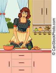 donna, retro, cucina