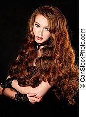 donna, riccio, lungo, moda, capelli, ritratto, rosso