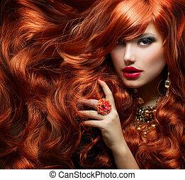 donna, riccio, lungo, moda, hair., ritratto, rosso