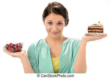 donna, sano, concetto, nutrizione