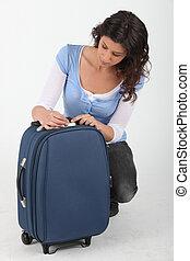 donna, sbloccando, valigia