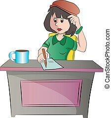 donna sedendo, illustrazione, scrivania, o, segretario