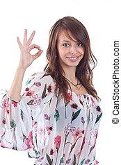 donna, segno giusto, gesturing