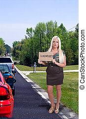 donna, segno, presa a terra, disoccupazione